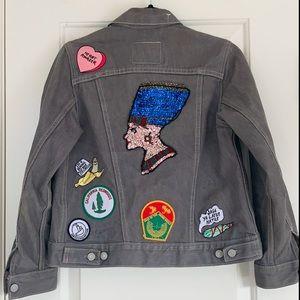 Levi's denim jean patchwork jacket